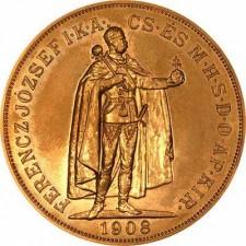 1908 Hungary Gold 100 Korona Restrike (Avg Circ)