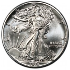 1989 1 Oz American Silver Eagle Brilliant Uncirculated (BU) Obverse