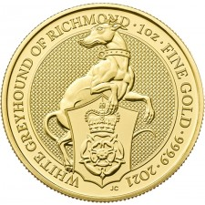 2021 UK 1 Oz Gold The White Greyhound of Richmond BU (Queen's Beasts Series)