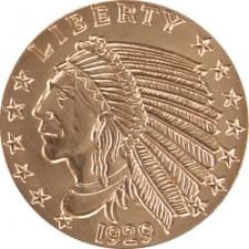 1 oz Copper Round   Incuse Indian (BU)