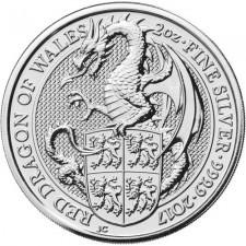 2017 UK 2 Oz Silver Red Dragon Queen's Beast Coin (BU) Reverse