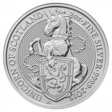 2018 UK 2 Oz Silver The Unicorn of Scotland BU (Queen's Beasts Series)