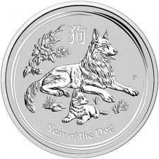 2018 Australia 1 Oz Silver Lunar Dog Coin (BU) Reverse