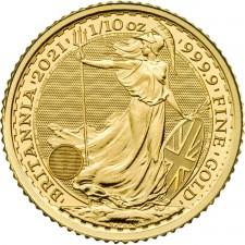 2021 Great Britain 1/10 Oz Gold Britannia (BU)
