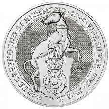 2022 UK 10 Oz Silver The White Greyhound of Richmond BU (Queen's Beasts Series)