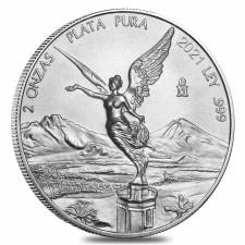 2021 2 Oz Mexican Silver Libertad Coin (BU)