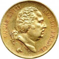 France Gold 40 Franc Louis XVIII Coin 1816-1824 (Average Circulated)
