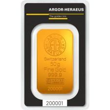 50 Gram Argor-Heraeus Gold Bar (In Assay)