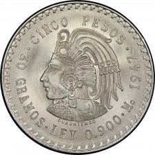 1947-1948 Mexico Silver 5 Pesos Cuauhtemoc Avg Circ (ASW .8681 oz)