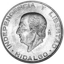 1955-1957 Mexico Silver 5 Pesos Hidalgo Avg Circ (ASW .4179 oz)