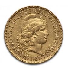 1882-1889 Argentina Gold 5 Pesos Un Argentino (Avg Circ)