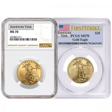 1/2 Oz American Gold Eagle PCGS/NGC MS70 (Random Year)
