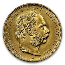 Austrian 8 Florin/20 Francs 1892-Dated Restrike BU
