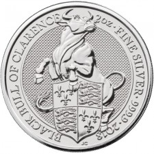 2018 UK 2 Oz Silver Black Bull of Clarence BU (Queen's Beasts Series)