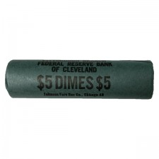Original Bank-Wrapped Roll of 90% Silver Roosevelt Dimes Brilliant Uncirculated (BU) - $5 Face Value