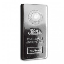 100 Oz Royal Canadian Mint (RCM) Silver Bar Front