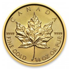 1/4 Oz Gold Canada Maple Leaf Reverse
