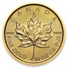 1/4 Oz Gold Canada Maple Leaf Reverse