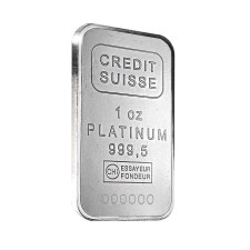 Credit Suisse 1 Oz Platinum Bar (With Assay)