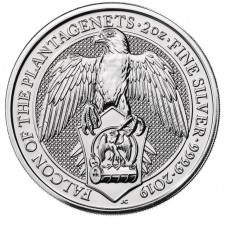 2019 UK 2 Oz Silver The Falcon of Plantagenets BU (Queen's Beasts Series)