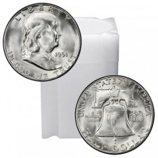 Tube of 90% Silver Franklin Half Dollars Brilliant Uncirculated (BU) - $10 Face Value