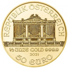 2021 Austria 1/2 Oz Gold Philharmonic