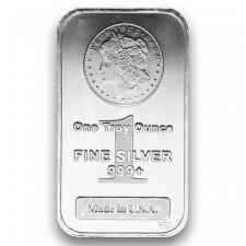 Highland Mint (HM) 1 Oz Morgan Design Silver Bar Front