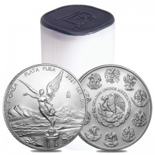 2021 1 Oz Mexican Silver Libertad Coin (BU) - Roll/Tube of 25 Coins