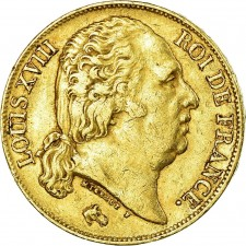 France Gold 20 Franc Louis XVIII 1816-1824 (Average Circulated)