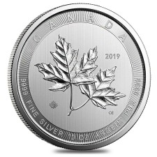 2019 10 Oz $50 Canadian Silver 'Magnificent' Maple Leaf Coin