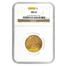 $5 Liberty Gold Half Eagle NGC MS63