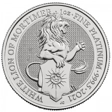 2021 UK 1 Oz Platinum The White Lion of Mortimer BU (Queen's Beasts Series)