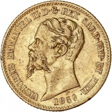 Italy Gold 20 Lire Sardinia Vittorio Emmanuel II 1850-1861 (Average Circulated)