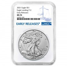 2021 1 Oz American Silver Eagle Type 2 NGC MS70 Early Releases