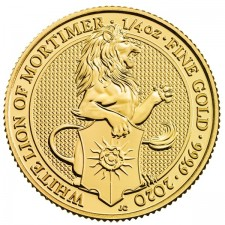 2020 UK 1/4 Oz Gold The White Lion of Mortimer BU (Queen's Beasts Series)