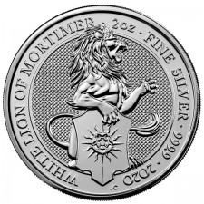 2020 UK 2 Oz Silver The White Lion of Mortimer BU (Queen's Beasts Series)
