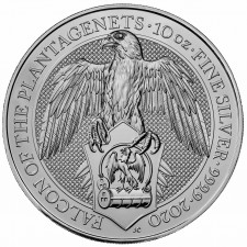 2020 UK 10 Oz Silver The Falcon of Plantagenets BU (Queen's Beasts Series)