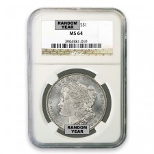 1878-1904 Morgan Silver Dollar Coin NGC MS64 (Random Dates) Obverse