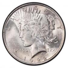 1922-1925 Peace Silver Dollar BU Obverse