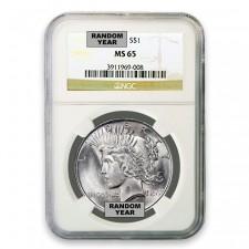 1922-1925 Random Date Silver Peace Dollar NGC MS65 Obverse
