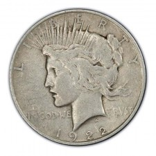 1922-1935 Peace Silver Dollar VG Obverse
