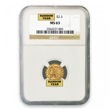 $2.50 Indian Gold Quarter Eagle NGC MS63 (Random)