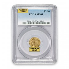 $2.50 Indian Gold Quarter Eagle PCGS MS61 Obverse
