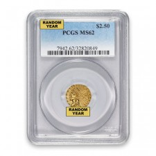 $2.50 Indian Gold Quarter Eagle PCGS MS62 (Random)