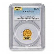 $2.50 Liberty Quarter Eagle PCGS MS64 (Random)