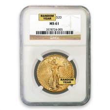 $20 Saint Gaudens Gold Double Eagle NGC MS61 (Random)