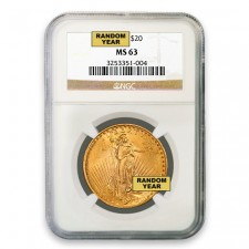 $20 Saint Gaudens Gold Double Eagle NGC MS63 Obverse