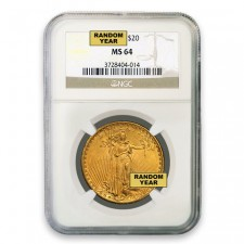 $20 Saint Gaudens Gold Double Eagle NGC MS64 Obverse