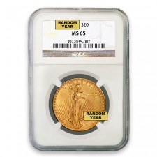 $20 Gold Saint Gaudens Double Eagle Coin NGC MS65