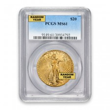 $20 Gold Saint-Gaudens Double Eagle PCGS MS61 Obverse